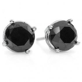 Natural 2.0 Ctw Black Diamond Solitaire Stud Earrings