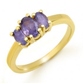 Genuine 1.0 Ctw Tanzanite Ring 10k Yellow Gold -