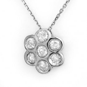 Genuine 0.90 Ctw Diamond Necklace 18k White Gold -