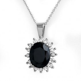 Genuine 5.20 Ctw Blue Sapphire & Diamond Pendant 14k