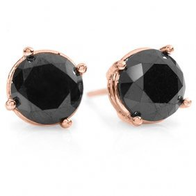 Natural 3.0 Ctw Black Diamond Solitaire Stud Earrings
