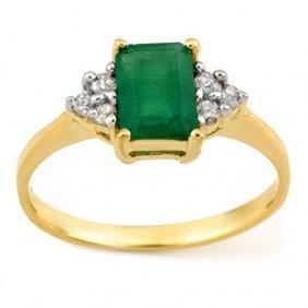 Natural 1.12 Ctw Emerald & Diamond Ring 10k Yellow Gold