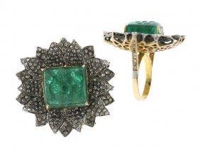 17.90 Tcw Emerald And Diamond Ring 14k Yellow Gold