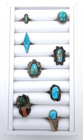Tray Lot Of Indian Sterling Silver & Turquoise Rin