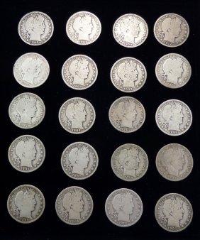 20 Barber Half Dollar Silver Coins