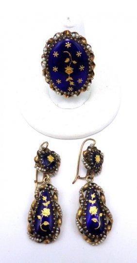 French 14k Gold Enamel & Seed Pearl Earring/ring S