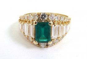 Diamond And Emerald 14k Gold Ring, Appraised $4,25