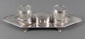 Antique English Silver & Cut Glass Inkwell Set