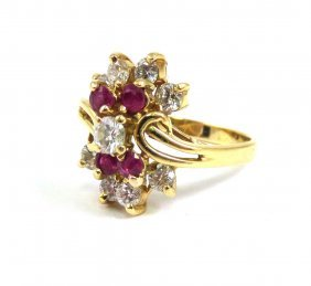 Diamond & Ruby Ring, 18k Yellow Gold Appr. $2,250.