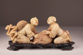 A Chinese Shoushan Soapstone Carving Of Hehe Erxia