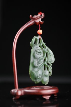 A Chinese Spinach Jade Pendant Of Lucky Beans