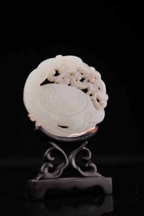 A Chinese White Jade Plaque Of A Duck With Millet