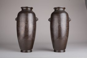 A Pair Of Chinese Bronze Shi So Vases With Silver