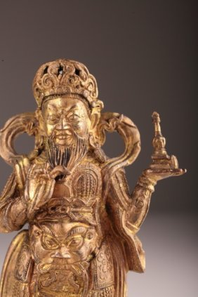 Chinese Gilt Bronze Figure Guardian King Of North