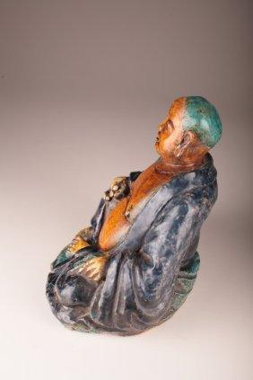 Chinese Ming Polychrome Ceramic Budai, Buddha