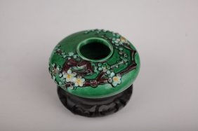 Chinese Porcelain Polychrome Water Coupe W Flowers