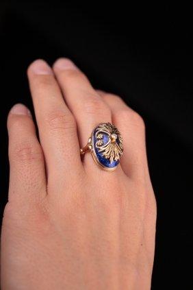 14kt Victorian Enamel Diamond Gold Ring