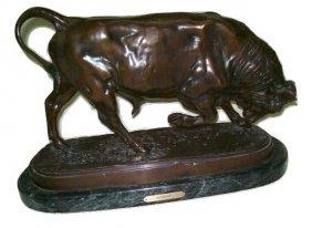 Aafter Isidore Jules Bonheur Bronze Charging Bull Statu