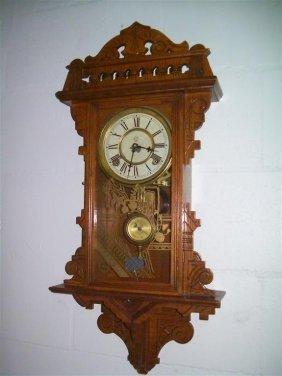 Antique Waterbury Oak Wall Clock