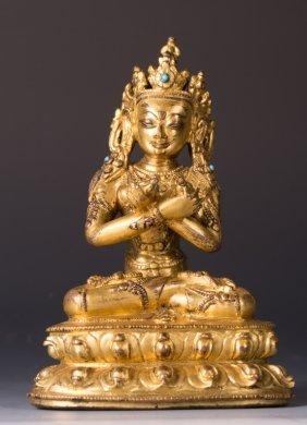 Chinese Gilt Bronze Figure Of Maitreya