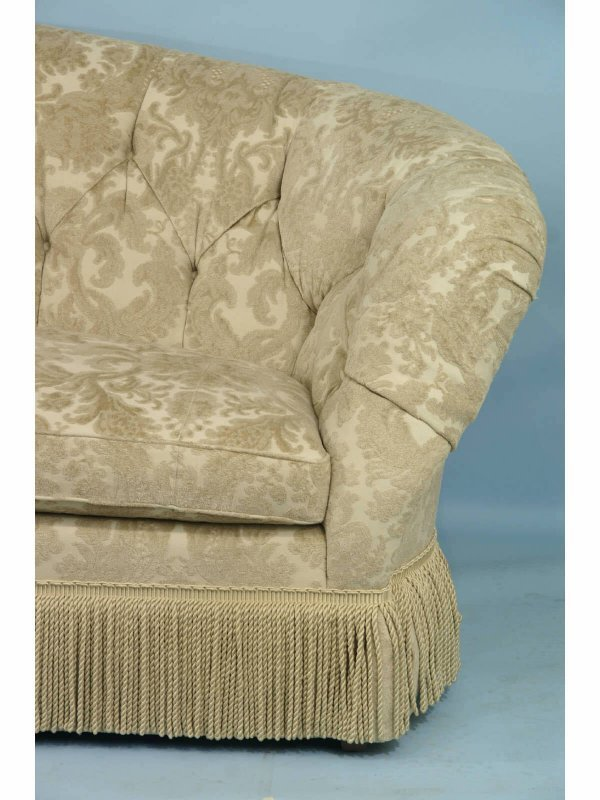 1029 button tufted sofa by baker in camel damask lot 1029