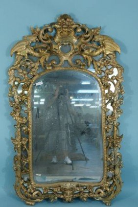 ANTIQUE WELL CARVED & GILDED BEVELED GLASS MIRROR