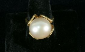 NEW LADIES 14 KT. YELLOW-GOLD RING WITH A PEARL