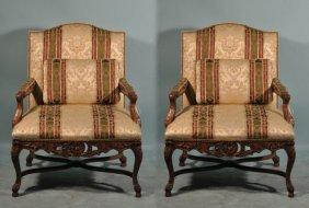 PAIR OF FRENCH LOUIS XV STYLE ARMCHAIRS IN SILK