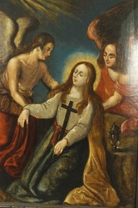 18th Century Spanish Religious Oil On Board Painting