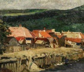 "Francois Gall ""untitled Landscape"" Oil On Burlap"
