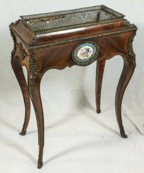 Antique Kingwood Planter Table With Sevres