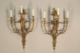 Pair Of 19th C. French Gilt Bronze Sconces