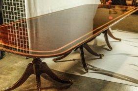 Triple-pedestal Mahogany Georgian Style Table