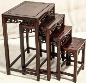 Vintage Rosewood Chinese Nest Of Tables