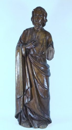 18th Century Wood Carved Santo