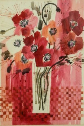 "Kroroy ""bouquet Of Pink & Red Flowers"" Watercolor"