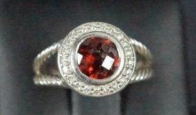 David Yurman Garnet & Diamond 14kt Ring