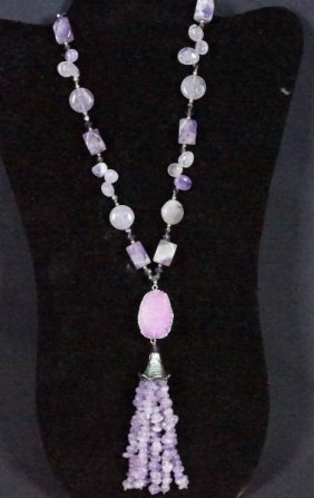 Amethyst Necklace With Geode & Amethyst Pendant