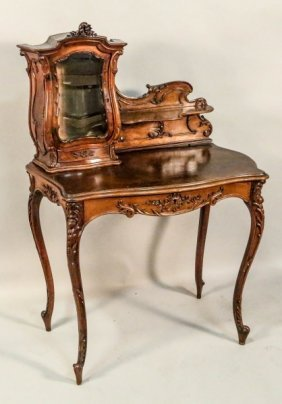 Louis Xv Style Walnut Table Desk And Chair