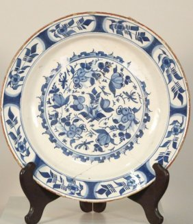 18th Century Faience Blue & White Bowl
