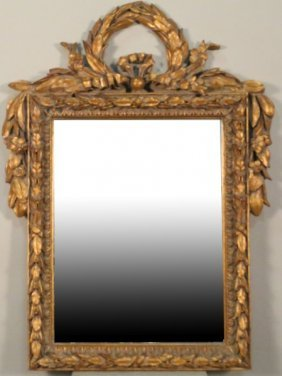 French Carved & Gilded Beveled Glass Mirror