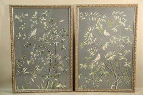 "Pair Of ""gracie: Handpainted"" Wallpaper Panels"