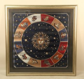Framed Zodiac Silk Scarf