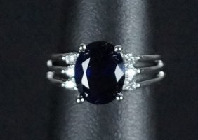 Blue & White Sapphire Sterling Silver Ring