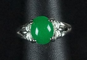 Natural Emerald Sterling Silver Estate Ring