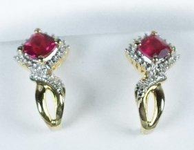 Pair Of Ruby & White Sapphire Earrings