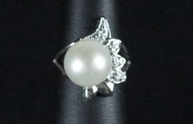 Pearl White Sapphire Accent Sterling Dinner Ring