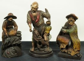 Lot Of Three Wood Carved Chinese Figures