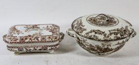 19th Century Ironstone Transferware Lidded Bowl & Tray