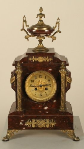 19th Century French Rouge Marble Mantle Clock